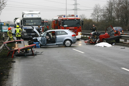 car wreck: Worms, Germany - Mrz 2, 2009 - Car crash on highway