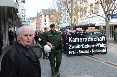 the nazis: Zweibruecken, Germany - March 20, 2009: Protests against Neo Nazis and right wing extremists