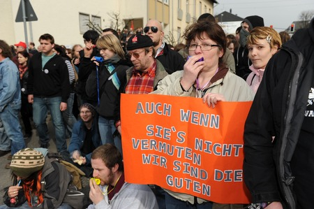 protests: Zweibruecken, Germany - March 20, 2009: Protests against Neo Nazis and right wing extremists