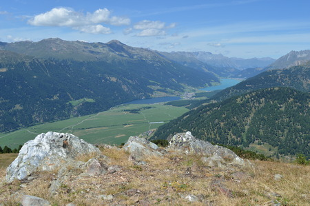 bolzano province: View from the mountain Spitzige Lun near Matsch in South Tryol towards Etschtal, Vinschgau and Rechensee Stock Photo