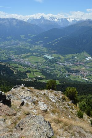 bolzano province: View from the mountain Spitzige Lun near Matsch in South Tryol towards Etschtal, Vinschgau and Ortler