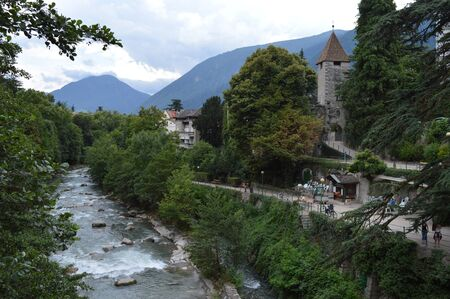 meran: River Passer (Passirio) in Merano Stock Photo