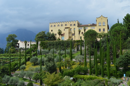 bird s eye view: Air view on the botanical gardens castle Trauttmansdorff and parts of Merano in South Tyrol Editorial