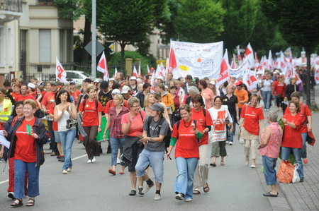 demonstrations: Worms, Germany - June 22, 2009 - Women protest against low payment in the nusery and kindergarten segment, strike and demonstrations