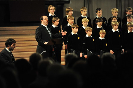 church interior: Cologne, Germany - December 14, 2010 - Boys choir of Bad T�lz in cathedral of Cologne