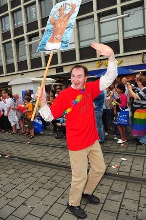 transexual: Mannheim, Alemania - 08 de agosto 2009 - desfile gay en la ciudad de Mannheim, Alemania Editorial