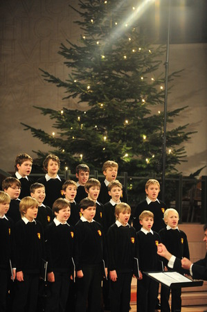 christmas carols: Cologne, Germany - December 14, 2010 - Boys choir of Bad T�lz in cathedral of Cologne