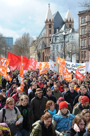 riots: Protest march in Frankfurt am Main Germany during euro crisis