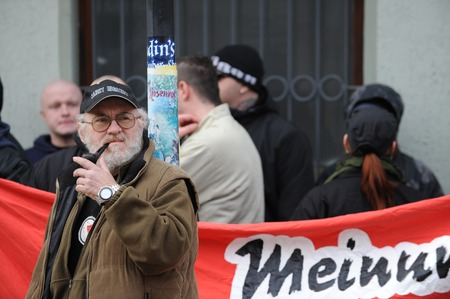 extremist: Zweibruecken, Germany - March 20, 2009: Protests against Neo Nazis and right wing extremists demonstrating. Right wing speaker during demonstration. Editorial