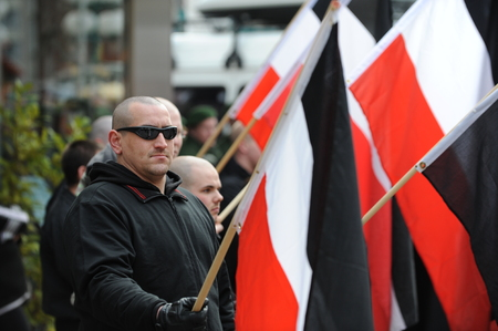 nazis: Zweibruecken, Germany - March 20, 2009: Protests against Neo Nazis and right wing extremists demonstrating Editorial
