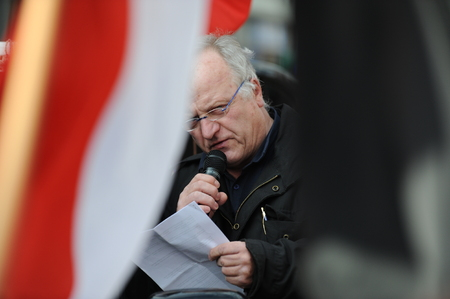 the nazis: Zweibruecken, Germany - March 20, 2009: Protests against Neo Nazis and right wing extremists demonstrating. Right wing speaker during demonstration. Editorial