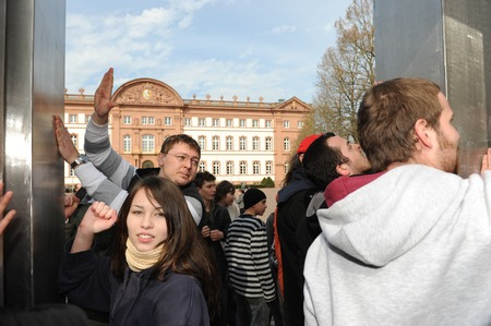 extremist: Zweibruecken, Germany - March 20, 2009: Protests against Neo Nazis and right wing extremists