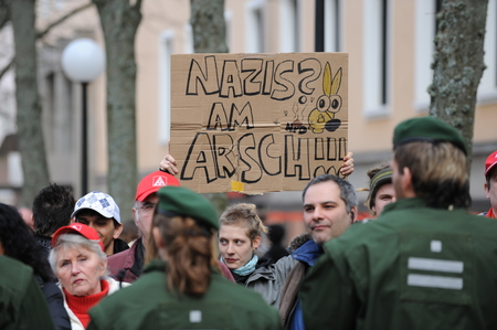 rightwing: Zweibruecken, Germany - March 20, 2009: Protests against Neo Nazis and right wing extremists