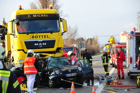rescuing: Worms, Germany - March 22, 2010 - Heavy car crash on highway A 61 near Worms