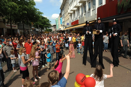 Worms, Germany - May 16, 2012: Street festival during cultural summer with walking act Editorial