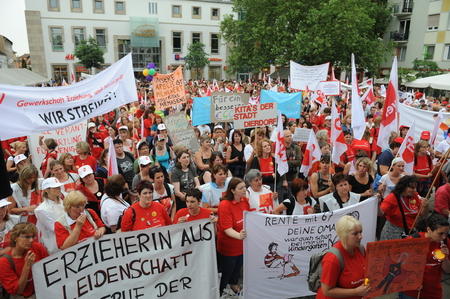 Worms, Germany - June 22, 2009 - Women protest against low payment in the nusery and kindergarten segment, strike and demonstrations