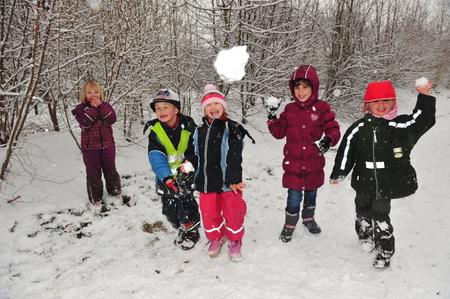boule de neige: Berlin, Allemagne - 29 Novembre 2010 - Les enfants qui ne devez pas aller � l'�cole � cause de la vague de froid et des chutes de neige massives faire un combat de boules de neige et de jouer dans la neige