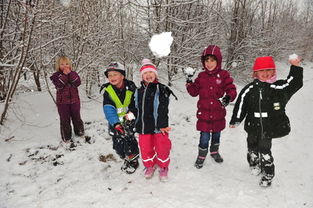 snowball: Berlin, Germany - November 29, 2010 - Children who don�t have to go to school because of cold snap and massive snowfall doing a snowball fight and playing in snow Editorial