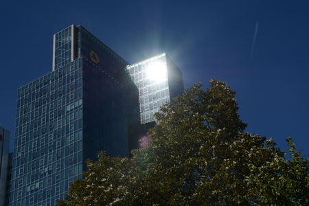 bce: Frankfurt, Germany - October 1, 2015 - German bank institue Commerzbank during finance and refugee crises in Europe