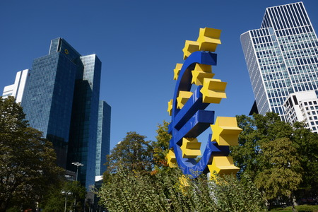 bce: Frankfurt, Germany - October 1, 2015 - Euro symbol with bank institute Commerzbank on the left Editorial