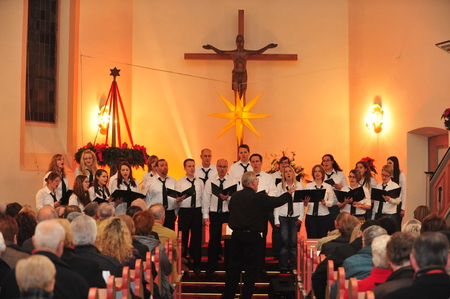 choral: Frankfurt, Germany - December 12, 2010 - Christmas concert in church as german tradition during christmas time