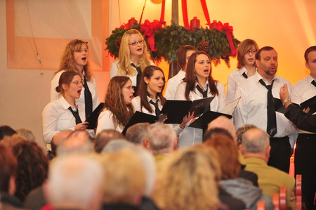 chorale: Frankfurt, Germany - December 12, 2010 - Christmas concert in church as German tradition during Christmastime