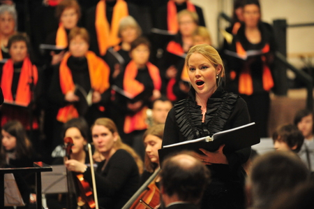 Frankfurt, Germany - December 19, 2010 - Classical concert with female singer