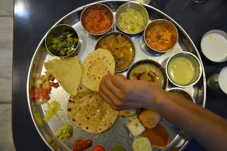 indian cookery: Indian meal called Thali with different foods
