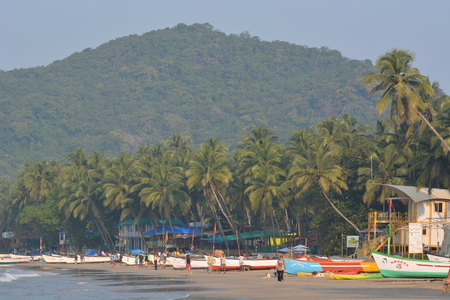 allover: Palolem, India - October 21, 2015 - Tourist from India and allover the world walking and swimming at the beach of Palolem, Goa. Editorial