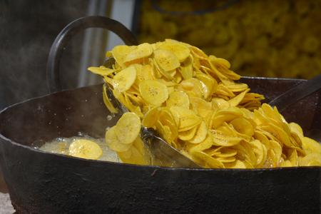 kochi: Frying banana chips in Kochi, Kerala, South India