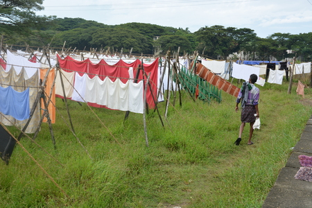 Open air laundry Dhobi Ghat in Kochi, South India