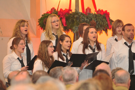 chorale: Frankfurt, Germany - December 12, 2010 - Christmas concert in church as german tradition during christmas time