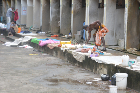 kochi: Kochi, India - November 1, 2015 - Open air laundromat Dhobi Ghat in Kochi, South India Editorial