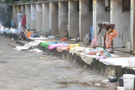 dhobi ghat: Kochi, India - November 1, 2015 - Open air laundromat Dhobi Ghat in Kochi, South India Editorial