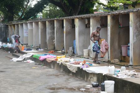laundromat: Kochi, India - November 1, 2015 - Open air laundromat Dhobi Ghat in Kochi, South India Editorial
