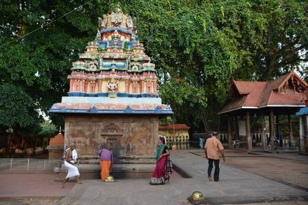 south india: Varkala, India - November 5, 2015 - People praying at holy place Janardhana Swami Temple in Varkala, Kerala, South India
