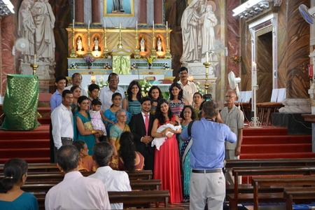 jesuit: Mangalore, India - October 24, 2015 - Indian catholic wedding in jesuit St. Aloysius chapel Editorial