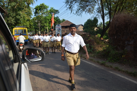 marching: Goa, India - October 22, 2015 - Marching group on street in Panaji