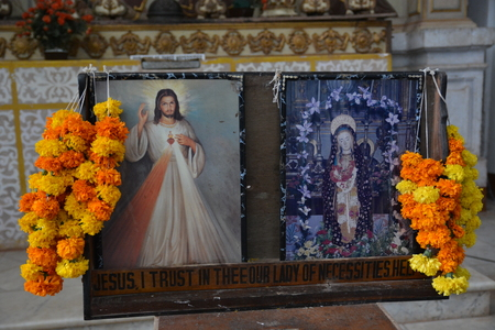 se: Goa, India - October 22, 2015 - Picture of Jesus in Se cathedral in Goa