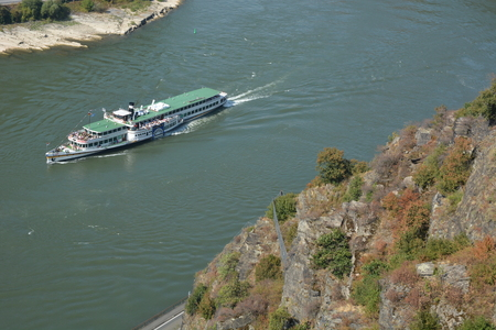 st german: St. Goarshausen, Germany - September 15, 2016 -  Historic passenger boat Goethe at Loreley rock in german rhine valley Editorial