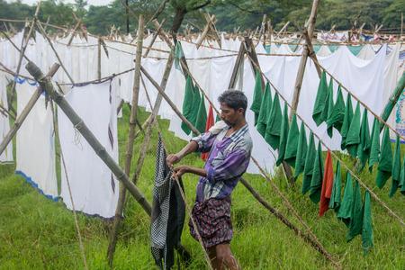 dhobi ghat: Kochi, India - December 11, 2016 - Open air laundromat Dhobi Ghat in Kochi, South India Editorial