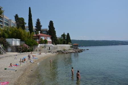 waterfront property: Opatija, Croatia - June 13, 2017 - Mansions near Lungomare promenade in  Opatija Editorial