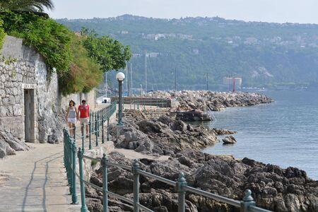 Opatija, Croatia - June 16, 2017 - Lungomare promenade near Opatija