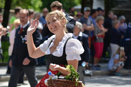 Berchtesgaden, Germany - June 5, 2017 - Beautiful girl on traditional parade in Bavaria, Germany