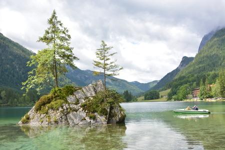 Ramsau, Germany - June 10, 2017 - Beautiful lake Hintersee in German alps with rowing boat Editorial