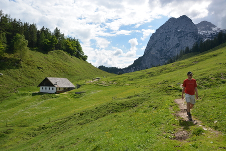 Ramsau, Germany - June 3, 2017 - Beautiful Kallbrunnalm in Austrian Alps