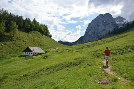 Ramsau, Germany - June 3, 2017 - Beautiful Kallbrunnalm in Austrian Alps