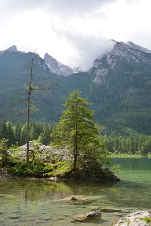 Beautiful lake Hintersee in German alps