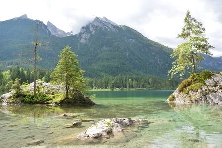 Beautiful lake Hintersee in German alps