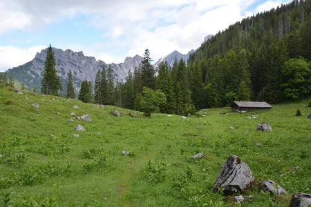 Ramsau, Germany - June 8, 2017 - Beautiful hut in Austrian Alps Stock Photo